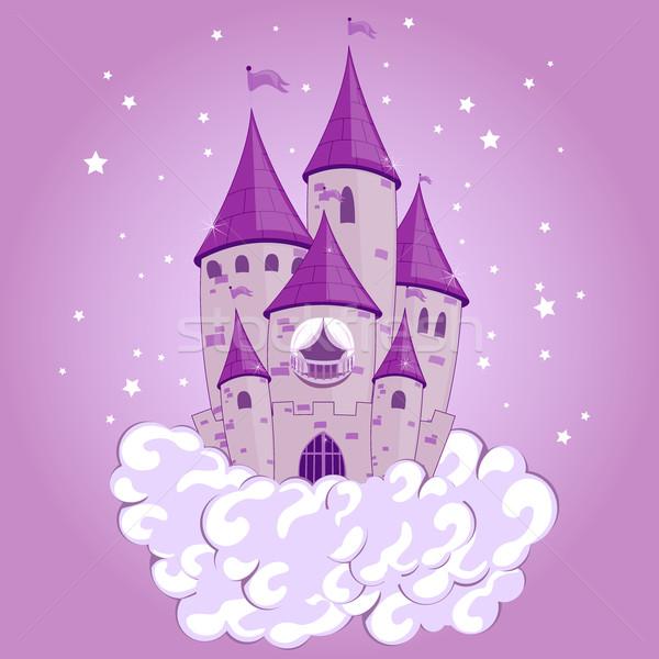 Vektor hercegnő kastély torony zászlók fantázia Stock fotó © RamonaKaulitzki