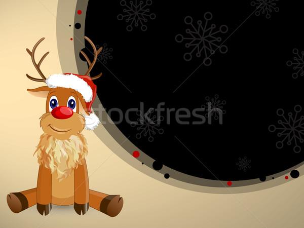 Vektör Noel dekoratif ren geyiği mutlu hayvan Stok fotoğraf © RamonaKaulitzki