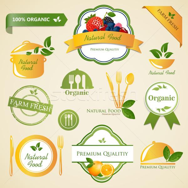 ストックフォト: ベクトル · 自然食品 · ラベル · 要素 · 食品 · 健康