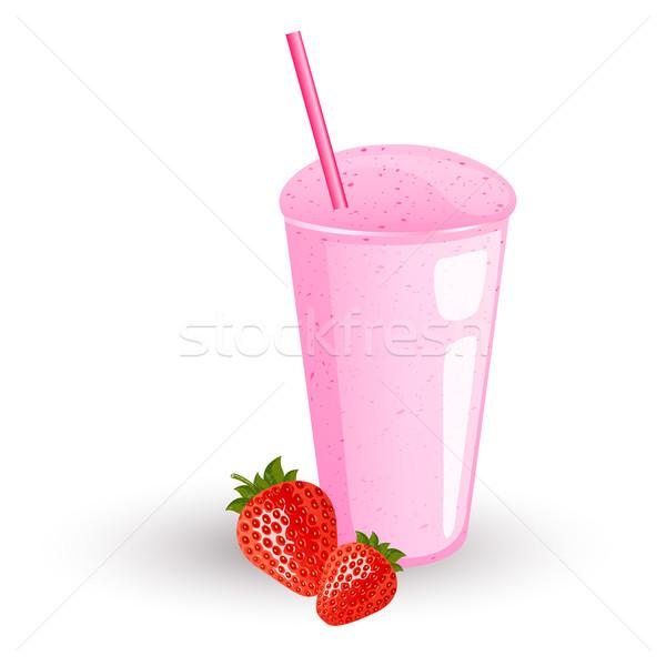 вектора молочный коктейль свежие клубники фон пить Сток-фото © RamonaKaulitzki