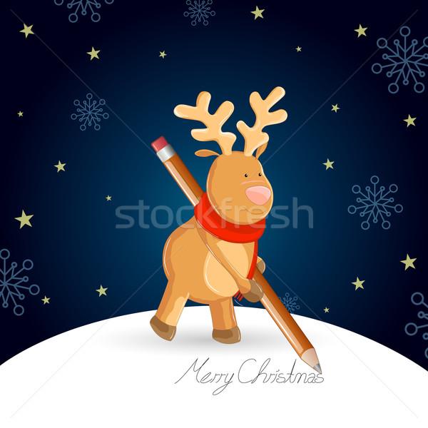 Noel vektör sevimli ren geyiği kalem kış Stok fotoğraf © RamonaKaulitzki