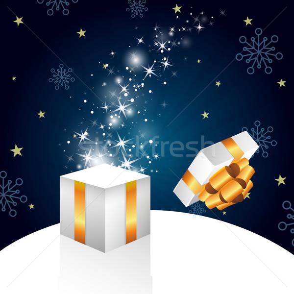 Noel vektör hediye arka plan kış uçmak Stok fotoğraf © RamonaKaulitzki