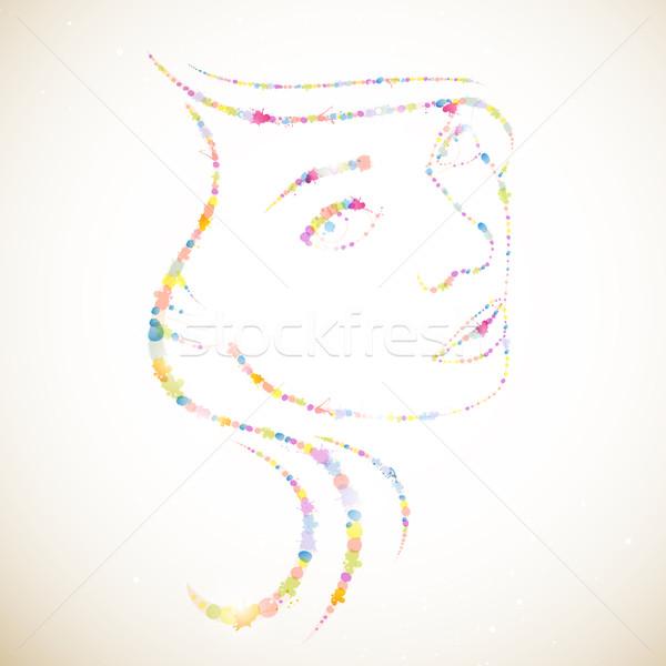 Stok fotoğraf: Vektör · kadın · soyut · moda · boya · güzellik