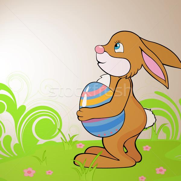 вектора Пасху кролик весны искусства оранжевый Сток-фото © RamonaKaulitzki