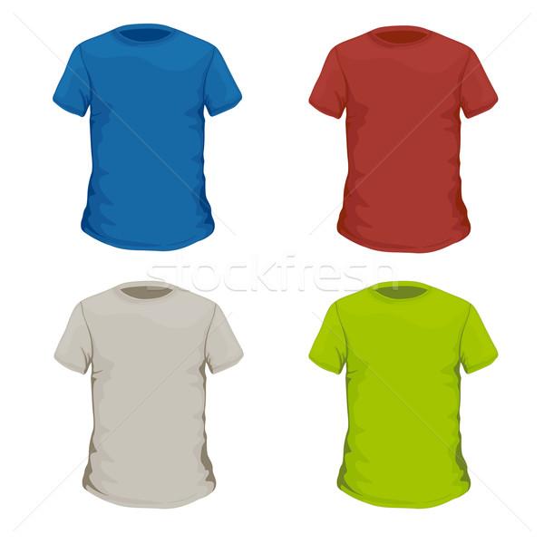 Vektör renkli tshirt tasarım şablonu spor erkekler Stok fotoğraf © RamonaKaulitzki