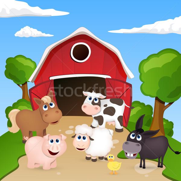 Vektör çiftlik çiftlik hayvanları at dizayn sanat Stok fotoğraf © RamonaKaulitzki