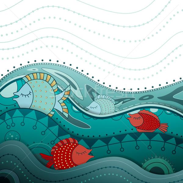 декоративный вектора декоративный природы морем Сток-фото © RamonaKaulitzki