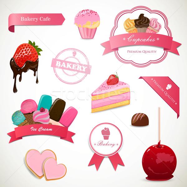 Stok fotoğraf: Vektör · tatlı · elemanları · etiketler · gıda · kek