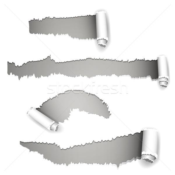 Résumé vecteur papier déchiré design fond étiquette Photo stock © RamonaKaulitzki