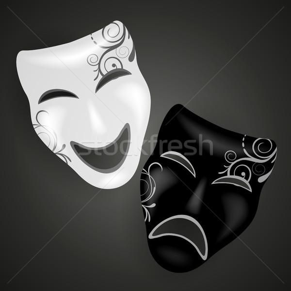 Stok fotoğraf: Dekoratif · vektör · maskeler · parti · tüy · sahne