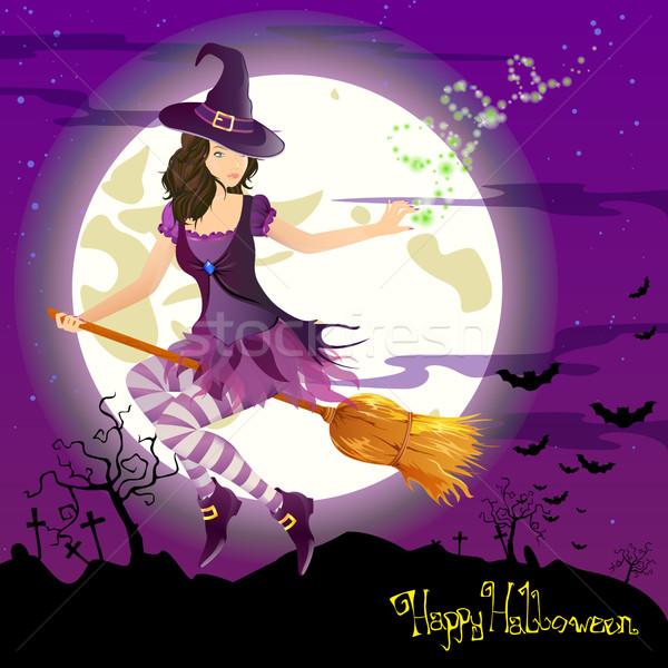 вектора Хэллоуин ведьмой Scary небе девушки Сток-фото © RamonaKaulitzki