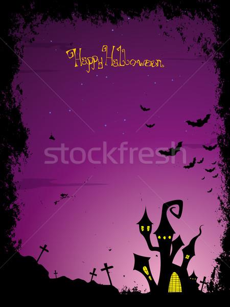 Vektör halloween korkutucu kale çapraz ay Stok fotoğraf © RamonaKaulitzki