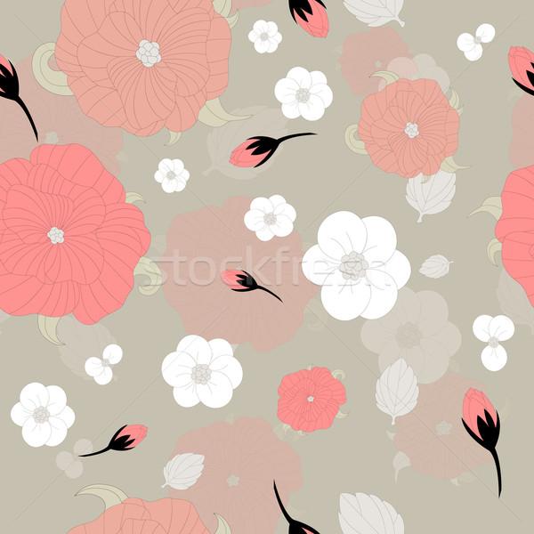 Foto stock: Abstrato · vetor · sem · costura · padrão · flores · primavera