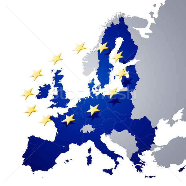 Vector map of European union and EU flag illustration Stock photo © RamonaKaulitzki