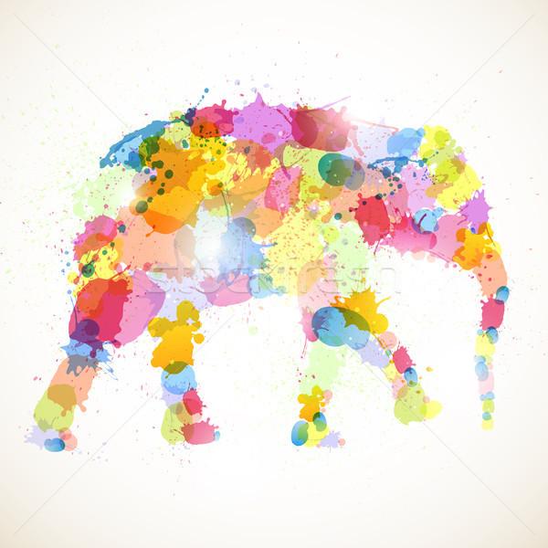 Resumen elefante cumpleanos África nino silueta Foto stock © RamonaKaulitzki