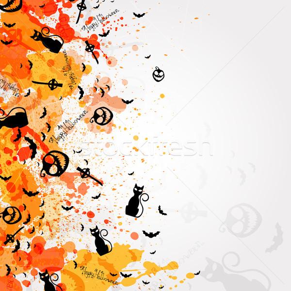 Halloween dekoratif dizayn ay turuncu web Stok fotoğraf © RamonaKaulitzki