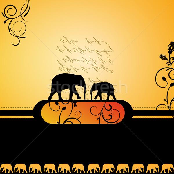 декоративный вектора Слоны черный цвета слон Сток-фото © RamonaKaulitzki