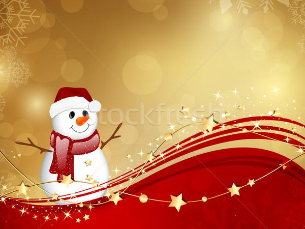 Vektör Noel küçük kardan adam doku güzellik Stok fotoğraf © RamonaKaulitzki