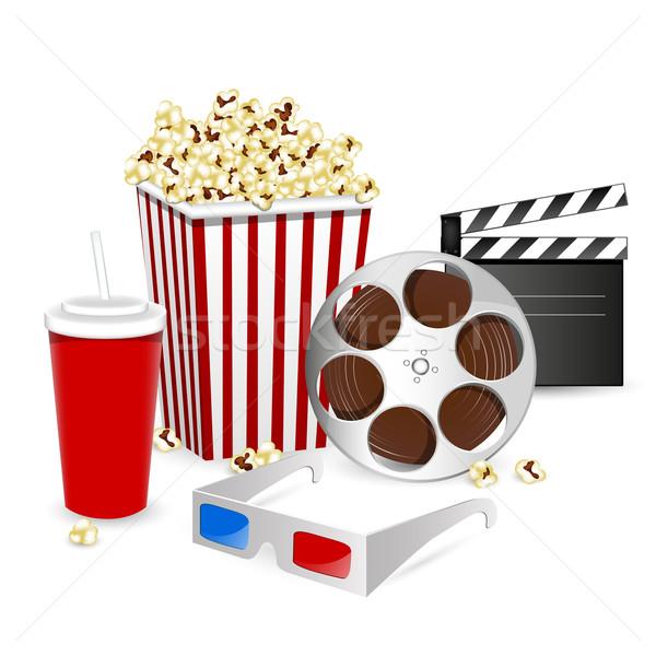 Foto stock: Vector · cine · elementos · papel · alimentos · película