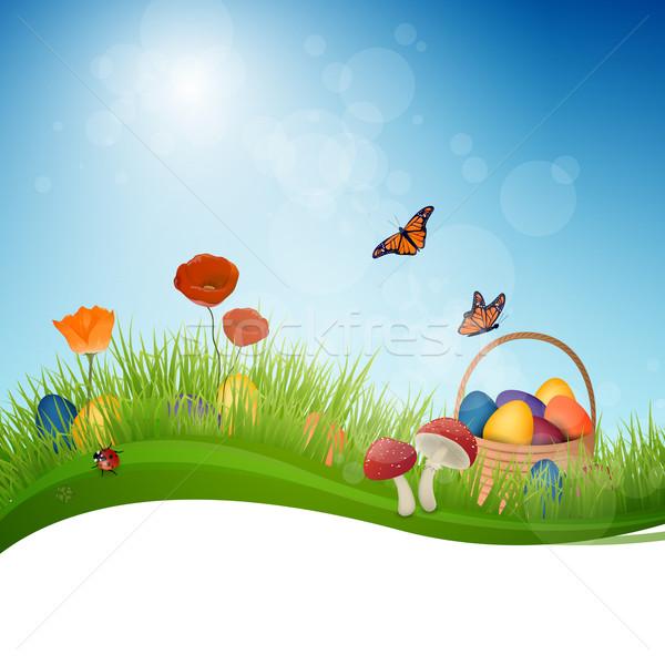 Stok fotoğraf: Vektör · bahar · renkli · kelebek · doğa · yeşil