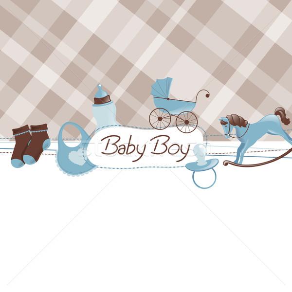 Vecteur bébé douche enfant fond mère Photo stock © RamonaKaulitzki