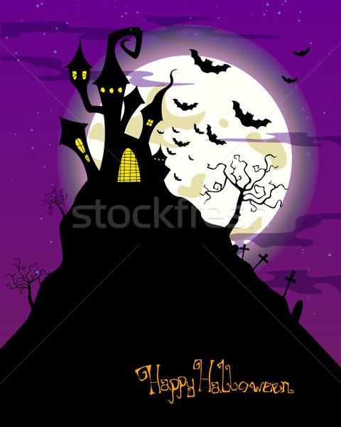 Wektora halloween zamek szczęśliwy księżyc karty Zdjęcia stock © RamonaKaulitzki
