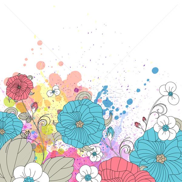 цветочный вектора бесшовный шаблон цветы весны Сток-фото © RamonaKaulitzki