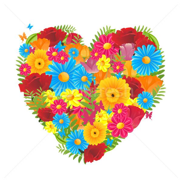 цветочный вектора красочный сердце цветок свадьба Сток-фото © RamonaKaulitzki