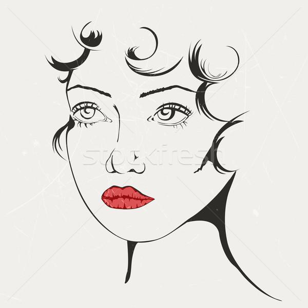 Foto stock: Vetor · mulher · abstrato · retrato · cara · feliz