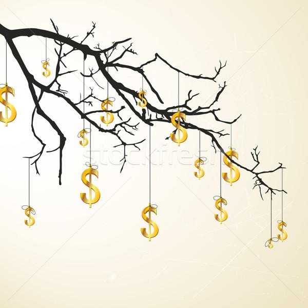 Foto stock: Vetor · ramo · dólares · dourado · madeira · metal