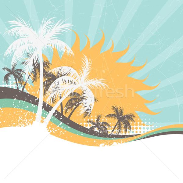 Vector verano resumen playa árbol fondo Foto stock © RamonaKaulitzki