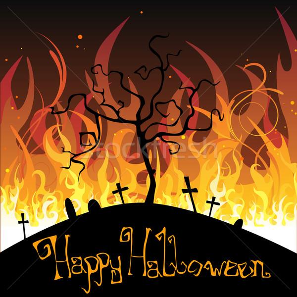 Хэллоуин вектора иллюстрация огня фон газ Сток-фото © RamonaKaulitzki