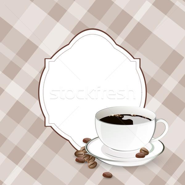 Vektör kahve dekoratif arka plan uzay plaka Stok fotoğraf © RamonaKaulitzki