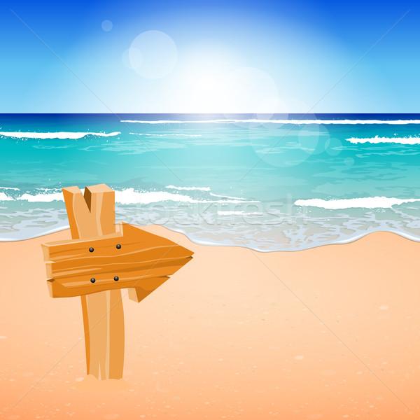 Vector verano playa tropical papel madera Foto stock © RamonaKaulitzki
