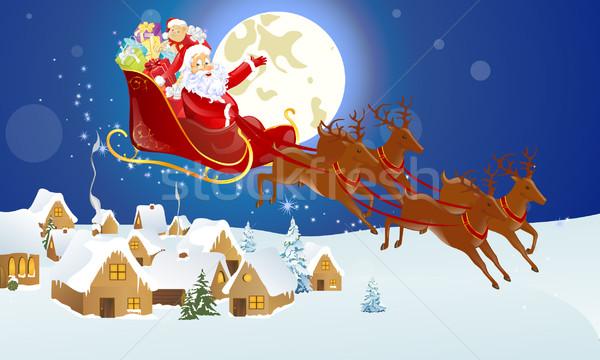 вектора Рождества Дед Мороз пейзаж дизайна кадр Сток-фото © RamonaKaulitzki