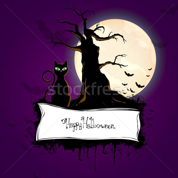 Vektör halloween siluet poster karikatür korkutucu Stok fotoğraf © RamonaKaulitzki
