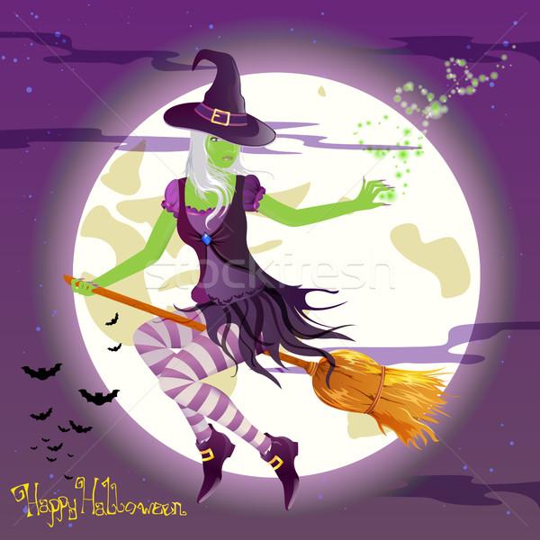 Vektör halloween cadı korkutucu kız mutlu Stok fotoğraf © RamonaKaulitzki