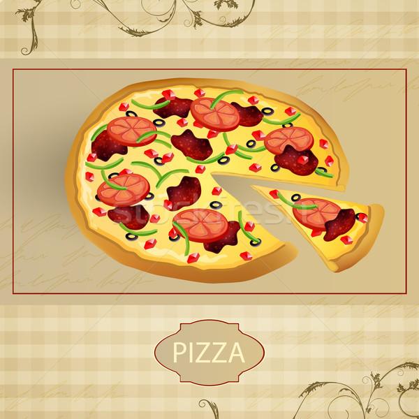 вектора меню карт Vintage пиццы бизнеса Сток-фото © RamonaKaulitzki