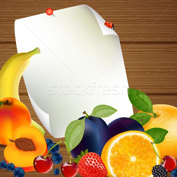 вектора плодов продовольствие дизайна фрукты здоровья Сток-фото © RamonaKaulitzki