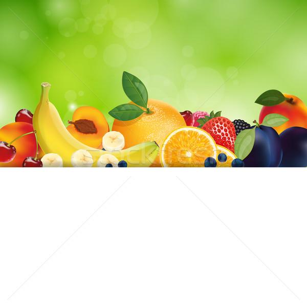 Vetor frutas fresco natureza maçã folha Foto stock © RamonaKaulitzki
