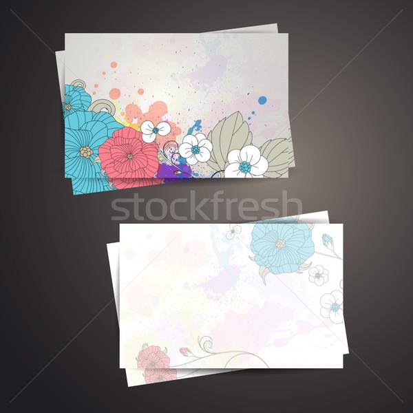 вектора подарок карт цветочный аннотация рождения Сток-фото © RamonaKaulitzki