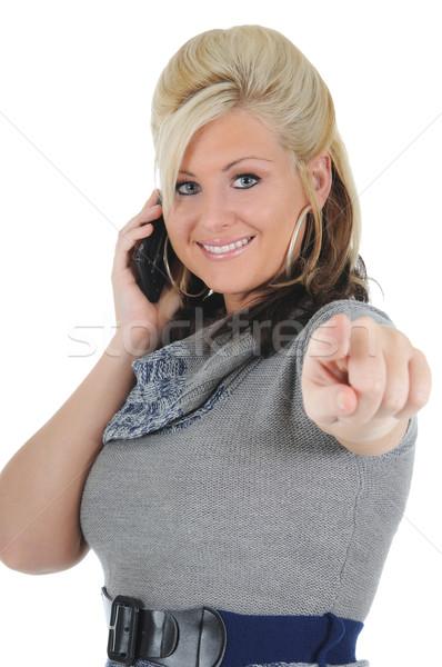 魅力のある女性 スマートフォン 魅力的な 小さな ポインティング ストックフォト © RandallReedPhoto