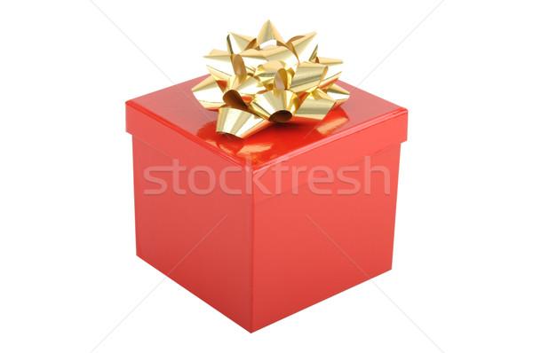 ストックフォト: 赤 · クリスマス · ギフトボックス · 金 · 弓 · 孤立した