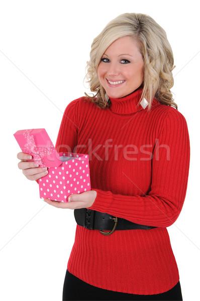 若い女性 ピンク ギフトボックス 幸せ ギフト バレンタインデー ストックフォト © RandallReedPhoto
