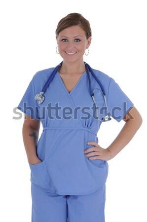 女性 看護 魅力的な 小さな 着用 手袋 ストックフォト © RandallReedPhoto