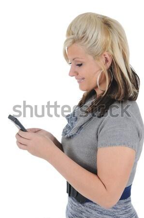 魅力のある女性 スマートフォン 魅力的な 小さな 送信 ストックフォト © RandallReedPhoto