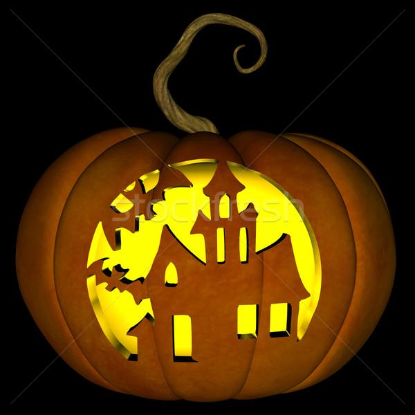 Halloween lanterna ilustração assustador casa Foto stock © RandallReedPhoto