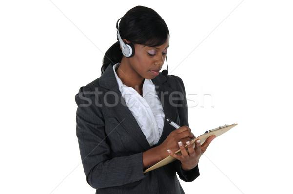 çekici iş kadını kulaklık Stok fotoğraf © RandallReedPhoto