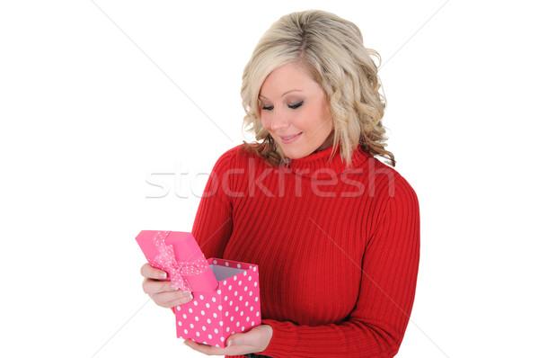 若い女性 ピンク ギフトボックス 開設 バレンタインデー 孤立した ストックフォト © RandallReedPhoto