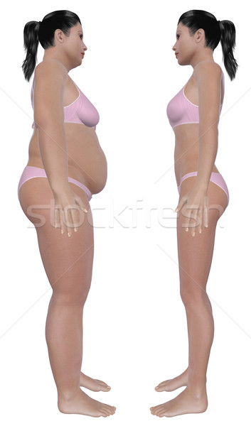 Weight Loss Before And After Side View Stock photo © RandallReedPhoto